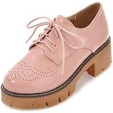 Womens Lace Up Flat Oxfords Shoes Trendy Wingtip Perforated Low Heel Vintage Saddle Oxford Brogues Pink