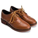 Womens Lace Up Flat Oxfords Shoes Round Toe Wingtip Perforated Low Heel Vintage Saddle Oxford Brogues Brown