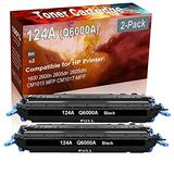 2-Pack (Black) Compatible 1600 2600n 2605dn 2605dtn CM1015 MFP CM1017 MFP Laser Toner Cartridge (High Capacity) Replacement for HP 124A (Q6000A) Printer Toner Cartridge