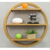 GAOXQFEI Living Room Wall-Mounted Shelf/Solid Wood Round Shelves/Bookshelf/Wall Bar Display Rack/Wall-Mounted Wall Shelf/Three Colors Optional Shelves/Partition Wall Shelf / (60 19 60Cm),Gold