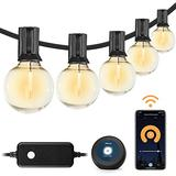 Outdoor String Lights – Patio Lights Outdoor Lights String Warm White LED String 100 Ft Lights Dimmable 2.4GHz Wi-Fi Control by App & Alexa 50+3 LED Bulbs Patio Lights Waterproof Extendable Cafe Light