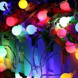 Mini Globe String Lights,Battery Light Bulb,8 Modes with Remote Hanging Lights, Warm White and Colorful Lights for Party Decor Wedding Christmas Tree Garden (Multi-Colored, 80 LEDs)