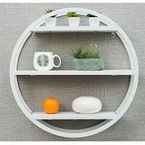GAOXQFEI Living Room Wall-Mounted Shelf/Solid Wood Round Shelves/Bookshelf/Wall Bar Display Rack/Wall-Mounted Wall Shelf/Three Colors Optional Shelves/Partition Wall Shelf / (60 19 60Cm),White