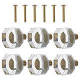 DOITOOL 6pcs Crystal Cabinet Knobs Antique Glass Door Knobs Round Glass Door Knobs Brass Cabinet Hardware Transparent Knob for Home Kitchen Wardrobe