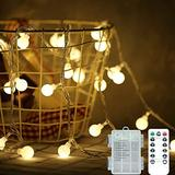 Mini Globe String Lights,Battery Light Bulb,8 Modes with Remote Waterproof Connectable Hanging Lights,Warm White and Colorful Lights for Party Decor Wedding Christmas Tree Garden (White, 50 LEDs)