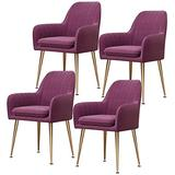 Home Dining Chairs Set of 4, Modern Classic Style Velvet Side Kitchen Chair with Metal Leg, Heavy Duty for Dining Room Kitchen 330LBS Weight Capacity Beautiful Design (Color : Purple)