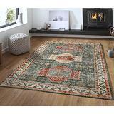 Oriental Vintage Floral Ornament Area Rug, Short Pile Classic Moroccan Bedroom Hallway Runner Carpet, Washable Printed Rug Mats Living Room(Deepen,120x160cm)