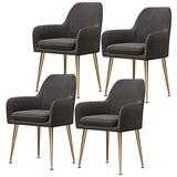 Home Dining Chairs Set of 4, Modern Classic Style Velvet Side Kitchen Chair with Metal Leg, Heavy Duty for Dining Room Kitchen 330LBS Weight Capacity Beautiful Design (Color : Dark Gray)