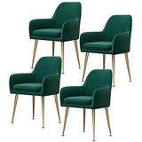 Home Dining Chairs Set of 4, Modern Classic Style Velvet Side Kitchen Chair with Metal Leg, Heavy Duty for Dining Room Kitchen 330LBS Weight Capacity Beautiful Design (Color : Green)
