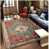 Oriental Vintage Floral Ornament Area Rug, Short Pile Classic Moroccan Bedroom Hallway Runner Carpet, Washable Printed Rug Mats Living Room(Red 2,140x200cm)