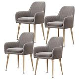 Home Dining Chairs Set of 4, Modern Classic Style Velvet Side Kitchen Chair with Metal Leg, Heavy Duty for Dining Room Kitchen 330LBS Weight Capacity Beautiful Design (Color : Gray)