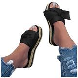 Fashion Women's Open Toe Outdoor Comfy Roman Shoes Bowknot Weave Summer Beach Sandals Ladies Arch Support Slippers