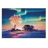234 Piece Small Jigsaw Puzzles for Adults Kids, Aurora Starry Sky Landscape Mini Jigsaw Floor Puzzle Intellectual Educational Game Difficult and Challenge Wall Decoration Mural Home Art