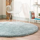 Rugs.com Infinity Collection Solid Shag Area Rug – 8 Ft Round Slate Blue Shag Rug Perfect for Kitchens, Dining Rooms