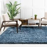Rugs.com Infinity Collection Solid Shag Area Rug – 8 Ft Square Aegean Blue Shag Rug Perfect for Living Rooms, Kitchens, Entryways