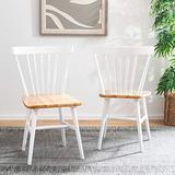 Safavieh Home Winona Farmhouse White and Natural Spindle Back Dining Chair, Set of 2