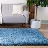 Rugs.com Infinity Collection Solid Shag Area Rug – 7' x 10' Aegean Blue Shag Rug Perfect for Living Rooms, Large Dining Rooms, Open Floorplans