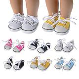 COSYOO 6 Pairs Doll Sneakers Creative Doll Supply Doll Canvas Shoes for 18in Doll Baby Doll Shoes for Girl Dolls Shoes