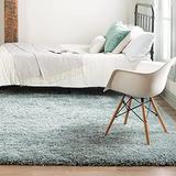 Rugs.com Infinity Collection Solid Shag Area Rug – 8 Ft Square Slate Blue Shag Rug Perfect for Living Rooms, Kitchens, Entryways