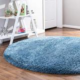 Rugs.com Infinity Collection Solid Shag Area Rug – 5 Ft Round Aegean Blue Shag Rug Perfect for Kitchens, Dining Rooms