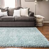 Rugs.com Infinity Collection Solid Shag Area Rug – 8' x 11' Slate Blue Shag Rug Perfect for Living Rooms, Large Dining Rooms, Open Floorplans