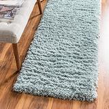Rugs.com Infinity Collection Solid Shag Area Rug – 10 Ft Runner Slate Blue Shag Rug Perfect for Hallways, Entryways