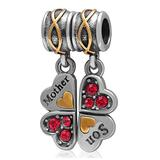 Pair of Pendants Mother Son Heart-Shaped Four-Leaf Clover with Clear CZ Charm 925 Sterling Silver Beads Fit European Bracelet (Light Red)
