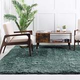 Rugs.com Infinity Collection Solid Shag Area Rug – 8 Ft Square Forest Green Shag Rug Perfect for Living Rooms, Kitchens, Entryways