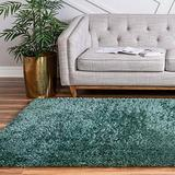 Rugs.com Infinity Collection Solid Shag Area Rug – 7' x 10' Forest Green Shag Rug Perfect for Living Rooms, Large Dining Rooms, Open Floorplans