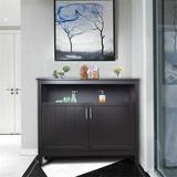 Winston Porter Modern Buffet Server Cabinet w/ Open ShelfWood in Black, Size 34.05 H x 39.96 W x 15.75 D in | Wayfair