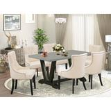 Winston Porter Aimah 7-Pc Kitchen Dining Set - 6 Dining Chairs & 1 Modern Rectangular Cement Wood Dining Table Top w/ Button Tufted Chair Back
