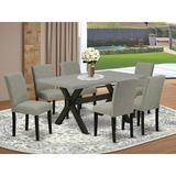 Winston Porter Aimara 7-Pc Dinette Room Set - 6 Mid Century Dining Chairs & 1 Modern Rectangular Cement Dining Table Top w/ High Chair Back | Wayfair