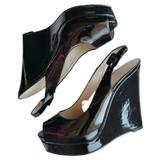 Nine West Shoes   Nine West Black Peep Toe Slingback Wedge Shoes 6.5   Color: Black   Size: 6.5