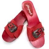 Free People Shoes | Free People | Westttown Wooden Clog Red Sandal | Color: Red/Silver | Size: 8