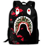 NiYoung Back to School Gift - Travel Hiking Bag & Day Pack Casual Daypack Climbing Shoulder Bag Big Capacity Rucksack Red Camo Bapes Shark Teeth School Daypack Backpack for Teen Boys