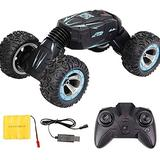 AXWT Toy High Speed RC Car 2.4GHz Radio Control Twist-Desert Stunt Cars Double-Sided Drive Off Road Racing Climbing Buggy Toys Rechargeable Drifting Vehicle for Children Xmas Gifts (Color : Blue)