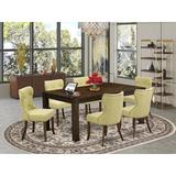 Lark Manor™ Flippen Folden Rubber Solid Wood Dining Set Wood/Upholstered Chairs in Gray/Brown, Size 30.0 H in   Wayfair