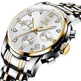 OLEVS Men's Waterproof Analog Quartz Business Nice Watch Silver Stainless Steel Chronograph Luminous Date Business Luxury Dress Diamond White Face Wrist Watch