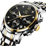 OLEVS Men's Waterproof Analog Quartz Business Nice Watch Black Stainless Steel Chronograph Luminous Date Business Luxury Dress Diamond Black Face Wrist Watch
