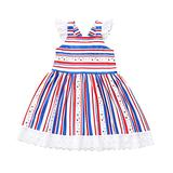 Hatoys Ruffle Sleeves Baby Girl Pleated Dress 4th of July Toddler Lace Lining Dress