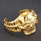 NDYD Punk Hip Hop Style Open Stainless Steel Cross Skull Rune Bracelet Gold Fashion Simple Retro Chain Viking Bracelet Jewelry Mens Adjustable Cuff Bracelet,Gold