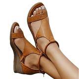 PPTT Women's Platform Sandals T-Strap Heel Sandals Ankle Strap Open Toe Sandals, Roman Style Retro Sandals Casual Back Side Zipper Wedge Sandals Vintage Beach Sandals,Brown,35