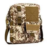 DVFJNWU Men Camo Waterproof Vertical Messenger Bag Army Fans Tactical Shoulder Bag Outdoor Travel Commuter Package Desert Digital