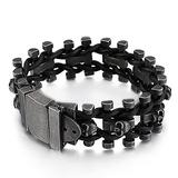 NDYD Men's Punk Hip Hop Cuff Bracelet Stainless Steel Mens Skull Curb Chain Bracelet Interwoven with Black Genuine Braided Leather Curb Cuff Bracelet Fashion Party Gift,22cm