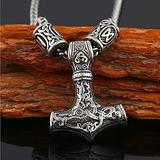 Feinny Men's Thor's Hammer Stainless Steel Pendant Necklace, Mjolnir Viking Pagan Amulet Protection Religious Totem Jewelry with Gift Bag,Silver with Rune Beads