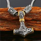 Feinny Men's Thor's Hammer Stainless Steel Pendant Necklace, Mjolnir Viking Pagan Amulet Protection Religious Totem Jewelry with Gift Bag,Mixed Gold with Rune Beads