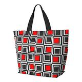 Modern Squares Red Grey And Black Shoulder Bag Multifunctional Large Capacity Handbag Tablet Bags Lightweight Work Tote Bag Weekender Travel Bag Beach Sack for Women