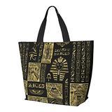 Egyptian Hieroglyphs And Symbols Gold On Black Leather Shoulder Bag Multifunctional Large Capacity Handbag Tablet Bags Lightweight Work Tote Bag Weekender Travel Bag Beach Sack for Women