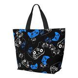 Video Game Blue On Black Shoulder Bag Multifunctional Large Capacity Handbag Tablet Bags Lightweight Work Tote Bag Weekender Travel Bag Beach Sack for Women