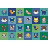 Children's Factory Baby Animals Grid, 72x108, CPR3143, Contemporary, Kids Rug for Daycare, Classroom Furniture, Baby and Toddler Playroom Décor
